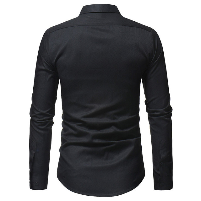 New Men Spring Autumn Casual Cotton Blend Shirt Fashion Solid Color Male Casual Long Sleeve Turn Down Collar ShirtT Shirt Men 4
