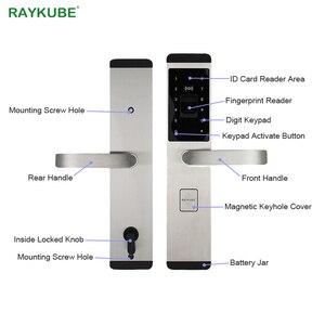 Image 3 - RAYKUBE elektronik dış kapı kilidi parmak izi/şifre/kimlik kartı/mekanik anahtar 4 In 1 açılış ev ofis güvenli kilit