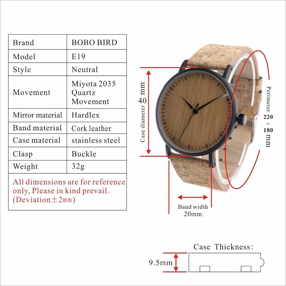 Zegarek drewniany Bobo Bird Cork E19 8