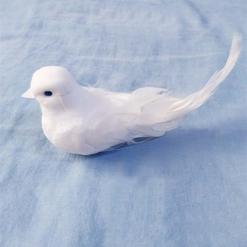 12PCS,12*5*5CM Artificial Foam Feather White Love Bird With magnet,Small Doves Wedding Decoration Favor,DIY Craft Ornaments Home