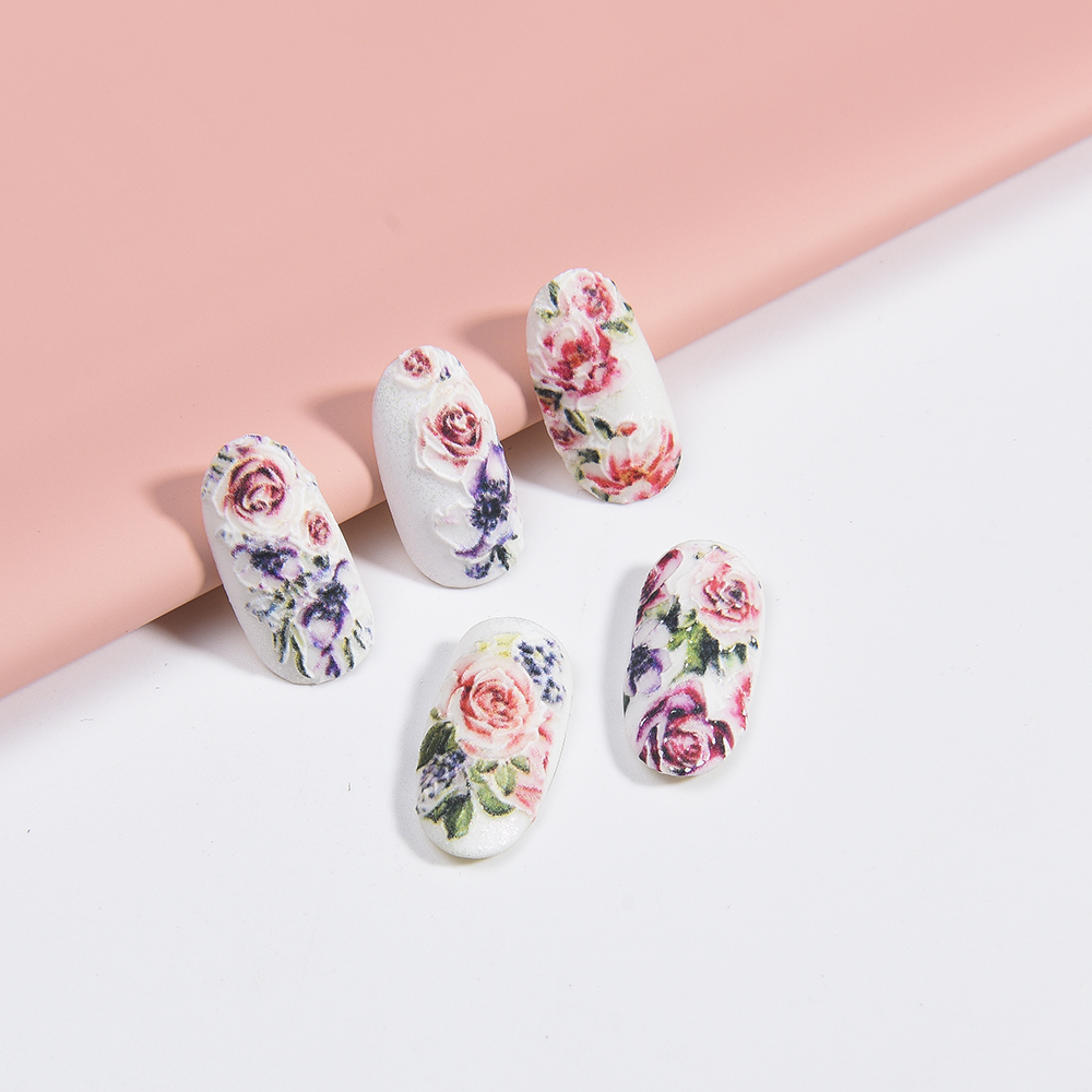Image 4 - 3D Acrylic Engraved flower Nail Sticker blue flowers birds  Water Decals Empaistic Nail Water Slide Decals Z0165-in Stickers & Decals from Beauty & Health