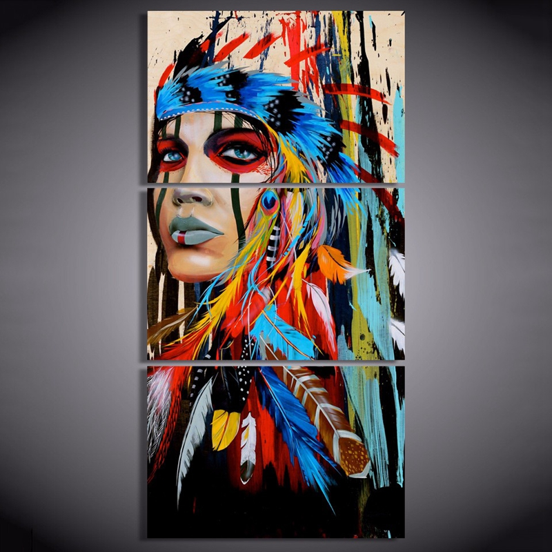 Art Wall-Picture Feather-Painting Top-3piececanvas Livingroom Native American Indian