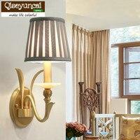 Qiseyuncai Американский гостиная медные бра творческая ретро простые прикроватная тумбочка для спальни проходу огни сельских меди лампы