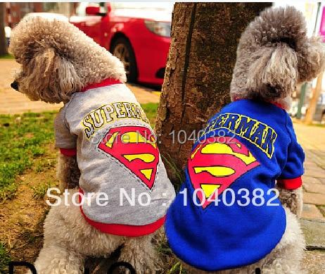 Free Shipping Cheap Superman Dog Clothes Shirt Dog Costume Pet