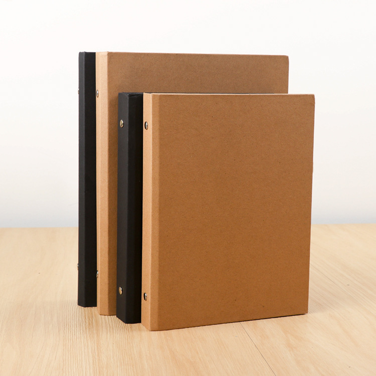 Harphia Loose Leaf Refillable Journal Kraft Paper Simple Solid Color Notebook Pl