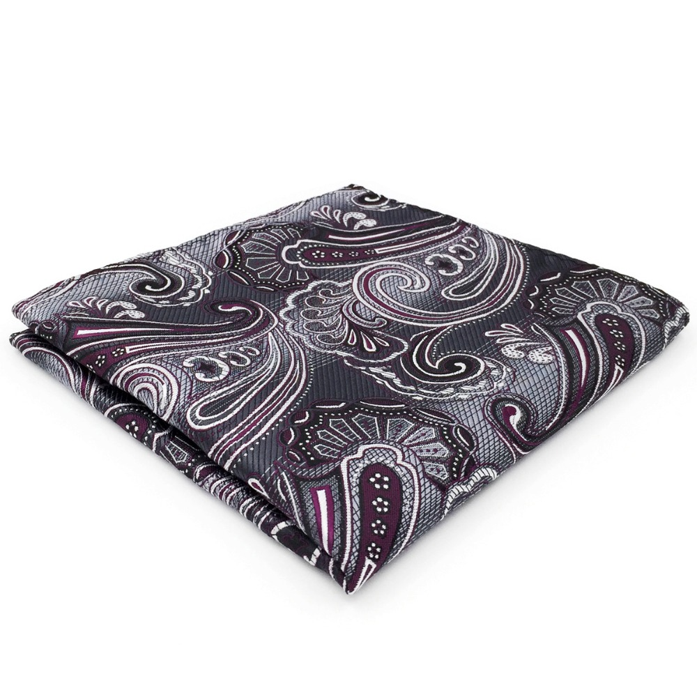 CH3 Grey Purple Paisley Mens Pocket Square Silk Wedding Classic Handkerchief