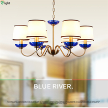 Modern Lustre Blue Glass Led Chandeliers Lighting Copper Living Room Led Pendant Chandelier Lights Dining Room Led Hanging Light modern designer dining room led pendant chandelier lighting lustre acrylic bedroom led chandeliers lamp round led hanging lights