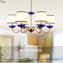 Modern Lustre Blue Glass Led Chandeliers Lighting Copper Living Room Pendant Chandelier Lights Dining Hanging Light