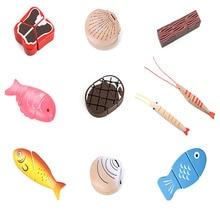 Детские деревянные игрушки ролевые игры магнитные морепродукты мясо овощи Рыба Креветки Краб ракушка резка Малыш игрушка для обучения подарки
