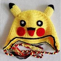 Nowy Kawaii Pikachu Hat Dzieci Funny Baby Czapki Ucha Trzymać Bawełny dzianiny Szydełkowe Kapelusze i Czapki Zimowe Dla Dzieci Hot Anime Pikachu Hat