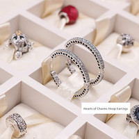 NEW! Perfect Charm Engraved S925 Silver earring women Hearts of charm Hoop Earrings lady jewelry,1pz