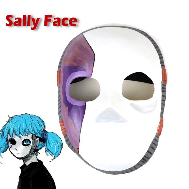 Eraspooky Latex Hot Game Sally Face Mask Cosplay Game Halloween Costume Adult Half Face Anime Masks Carnivl Party Props