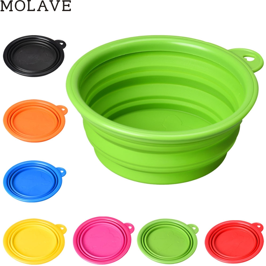 MOLAVE Happy Gifts Dog Cat Pet Silicone Collapsible Travel Feeding Bowl Water Dish Feeder Alimentador