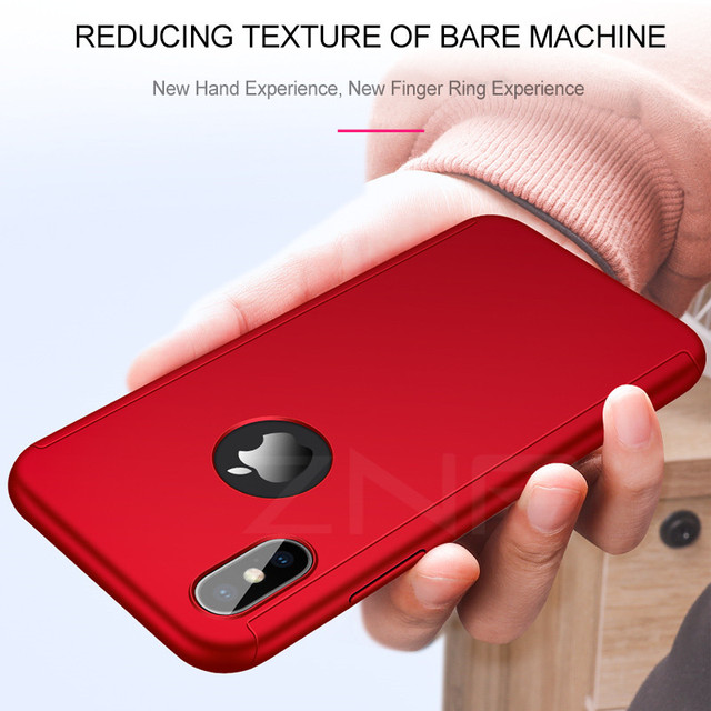 ZNP 360 Full Cover Phone Case For iPhone X 8 6 6s 7 Plus 5 5s SE PC Protective Cover For iPhone XS Max XR Case Cover With Glass