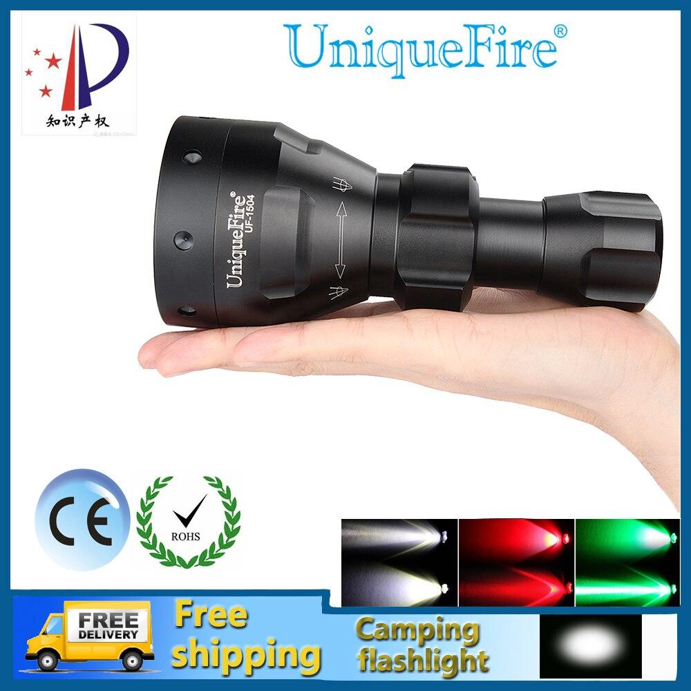 UniqueFire 1504 Mini Réglable LED lampe de Poche Waterrproof Zoomables 3 Modes Vert/Rouge/Blanc Lumière Pour la Plongée et le Camping