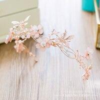 Trendy różowy kwiat korona kobiety chluba hairband tiara rhinestone kryształ dziewczyna wesele włosów akcesoria prezenty wenshan
