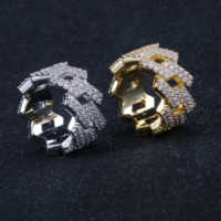 Hip Hop Iced Out Personalized Ring Mens Prong Setting Gold Silver Color Jewerly Bling Cubic Zirconia Ring Charm Jewelry