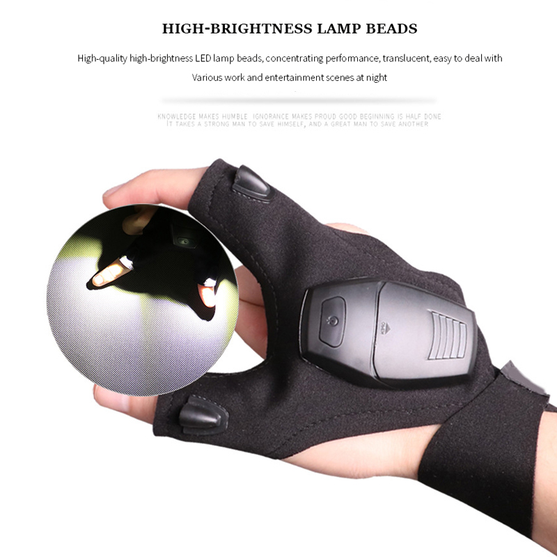 1pc Night Fishing Led Lamp Glove Night Auto Repair Glove Outdoor Lighting Repair Gloves Lamp Led Multi-purpose Upgrade Version
