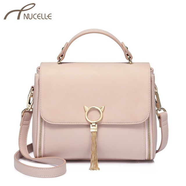 c113b24c6ea9 NUCELLE Women s Leather Handbags Ladies Fashion Cat Ear Tassel Messenger  Tote Purse Female All-match Elegant Crossbody Bags