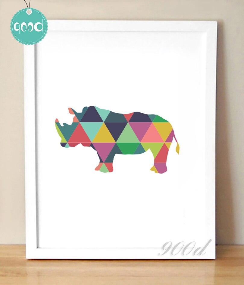 ⑦Geométrico rinoceronte lienzo impresión del arte pintura cartel ...