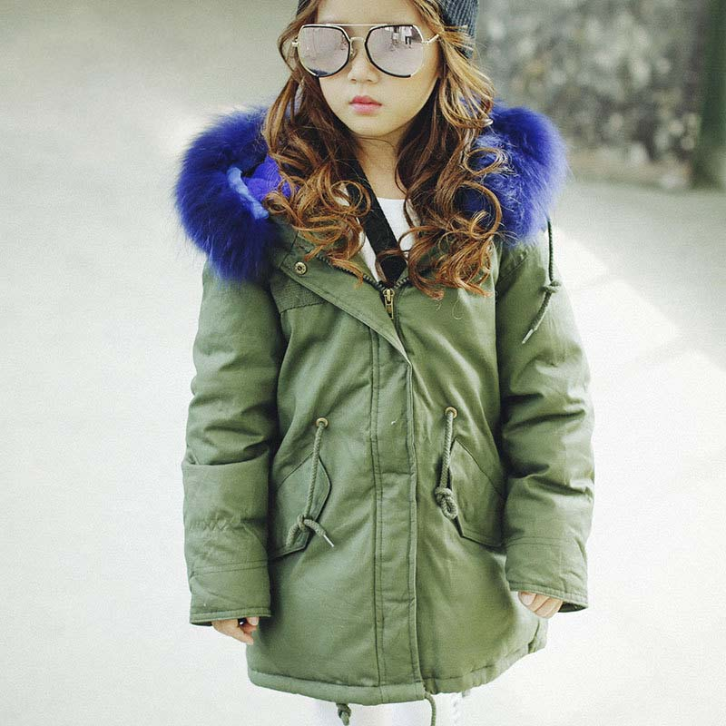 ФОТО 2016 Children's Thick Warm Parkas Jacket Fur Collar Hooded Padded Coat Medium Long Unisex Boys and Girls Outerwear Coat DQ178