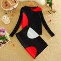 2016 Mujeres Falda de Punto Set Geométrica Contraste Modelo Del Color de Las Mujeres Suéter Superior y Un Paso de Punto Las Mujeres Falda Conjunto