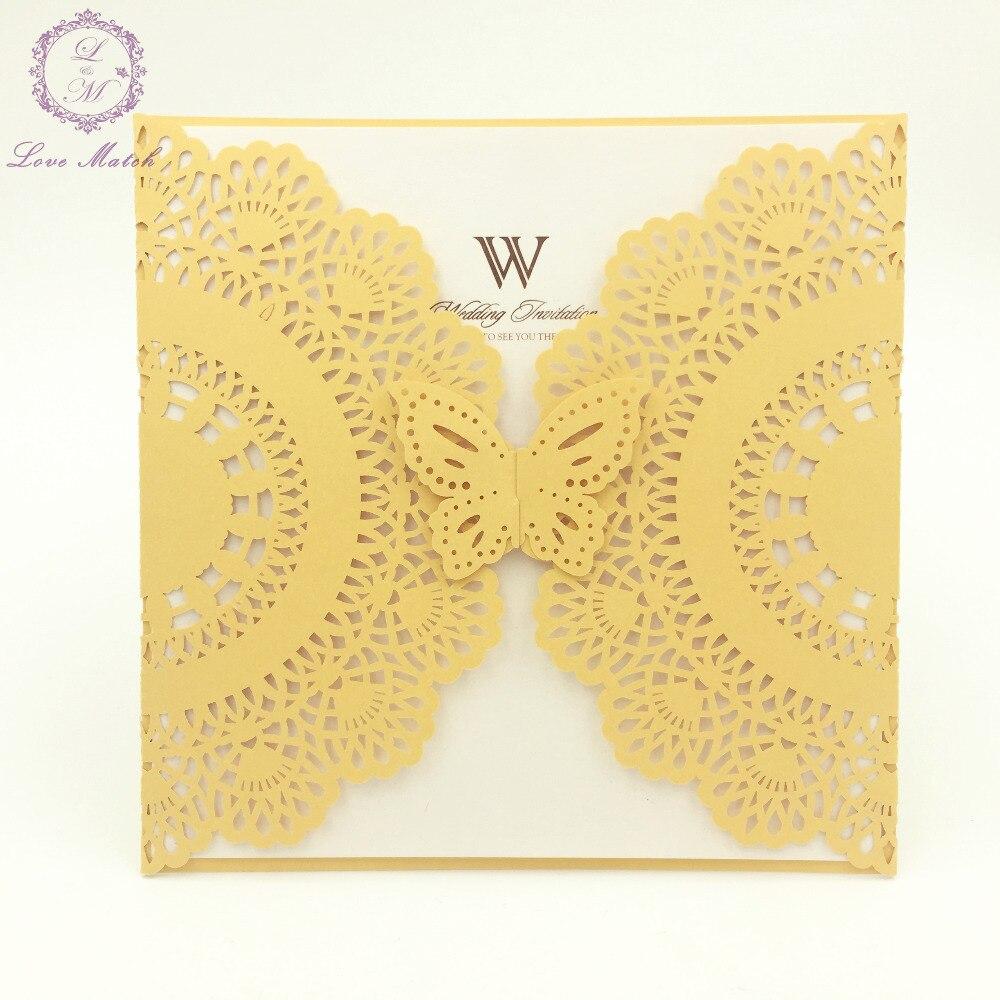 10sets laser cut wedding invitation card butterfly wedding ...