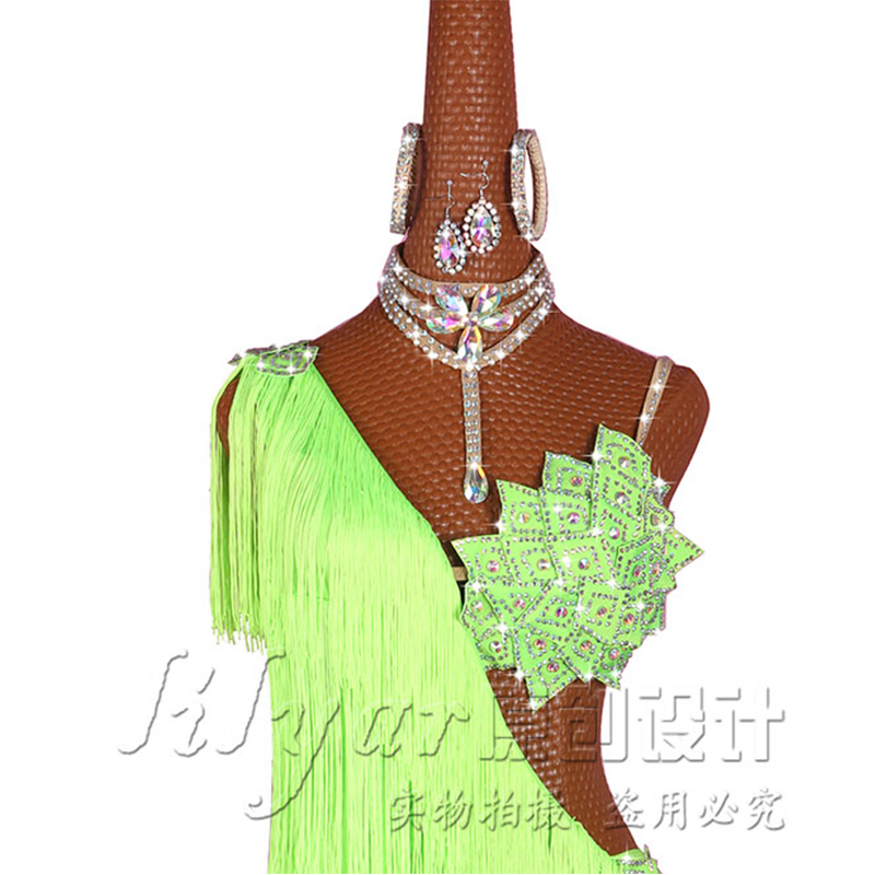 Latin Dance Dresses For Ladies Elegant Neon Green Thick Fringe Skirt Women Stage Ballroom Compete Costumes Latin Dress