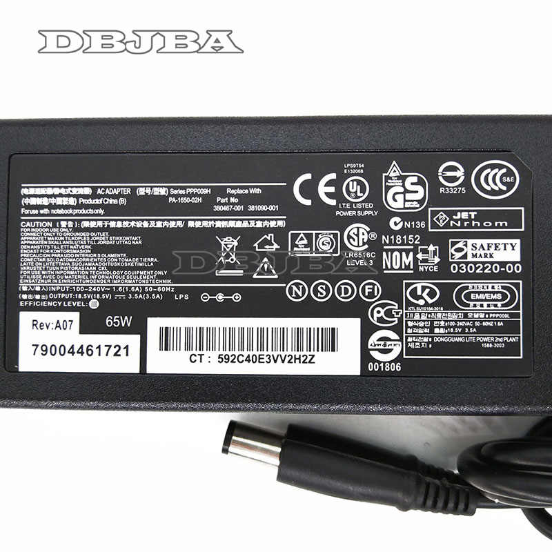 18,5 V 3.5A 65 W AC адаптер Батарея Зарядное устройство для hp Pavilion dm4 g4 g6 g7 ноутбука источника питания