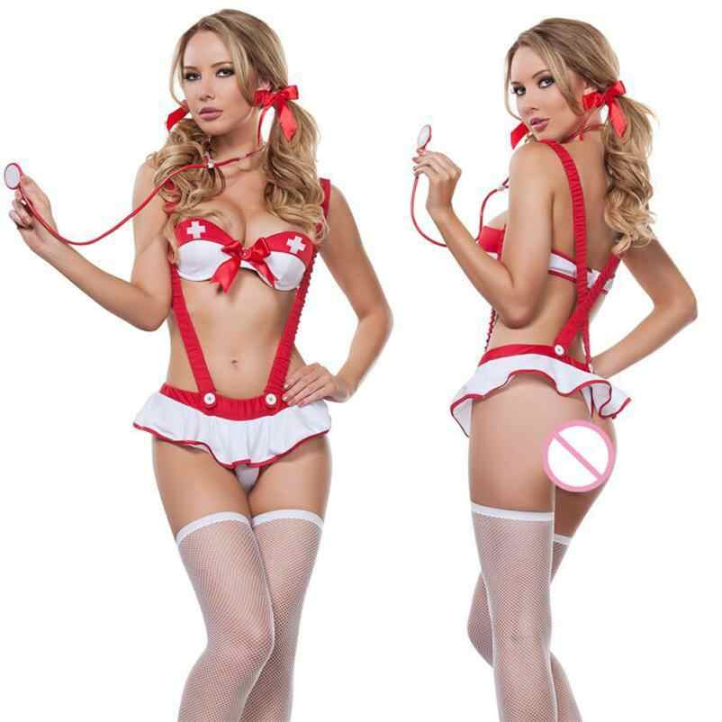 Сексуальное женское нижнее белье для взрослых, маскарадный костюм для медсестры, комплект для косплея, соблазнительное сексуальное женское белье Oc20GBY
