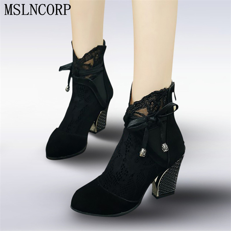 plus size 34-43 New High Quality Women Ankle Boots Lace Floral Bowknot Spring Summer Boots Zapatos Femme Square High Heel Shoes