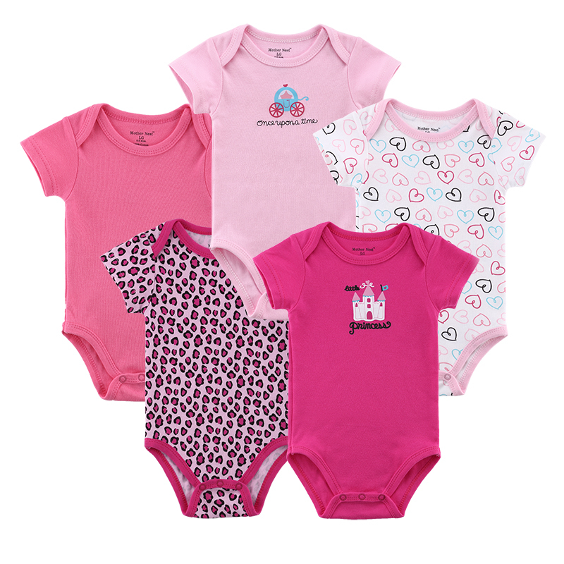 5 pcs/ lot Mother Nest Baby Pajamas Newborn Baby Rompers Infant Cotton Short Sleeve Clot ...