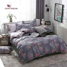 SlowDream Flamingos Pattern Bedding Set Bedspread Cartoon Duvet Cover 3/4PCS Bed Linen Flat Sheet Pillowcase Home Textil