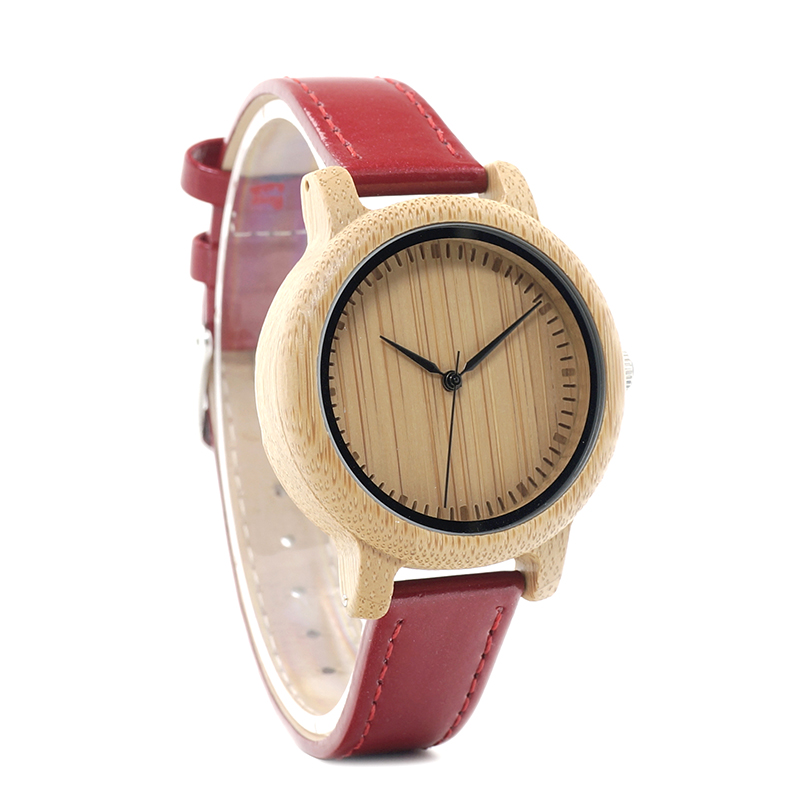 Image 3 - BOBO BIRD WJ09 Simple Style Bamboo Women Watch Bamboo Dial Genuine Red PU Leather Band Quartz Watches Relojes mujer Accept OEMmujermujer reloj  -
