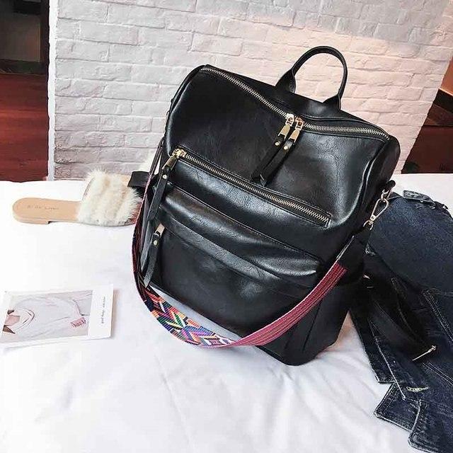 Leather Backpack Women 2019 Students School Bag Large Backpacks Multifunction Travel Bags Mochila Pink Vintage Back Pack XA529H 2