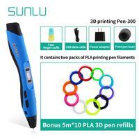 Новейший SL-300 3D набор ручек для рисования включает 50 м PLA нити Лучший подарок для детей и взрослых детей 3D печать Ручка образовательный гадже...
