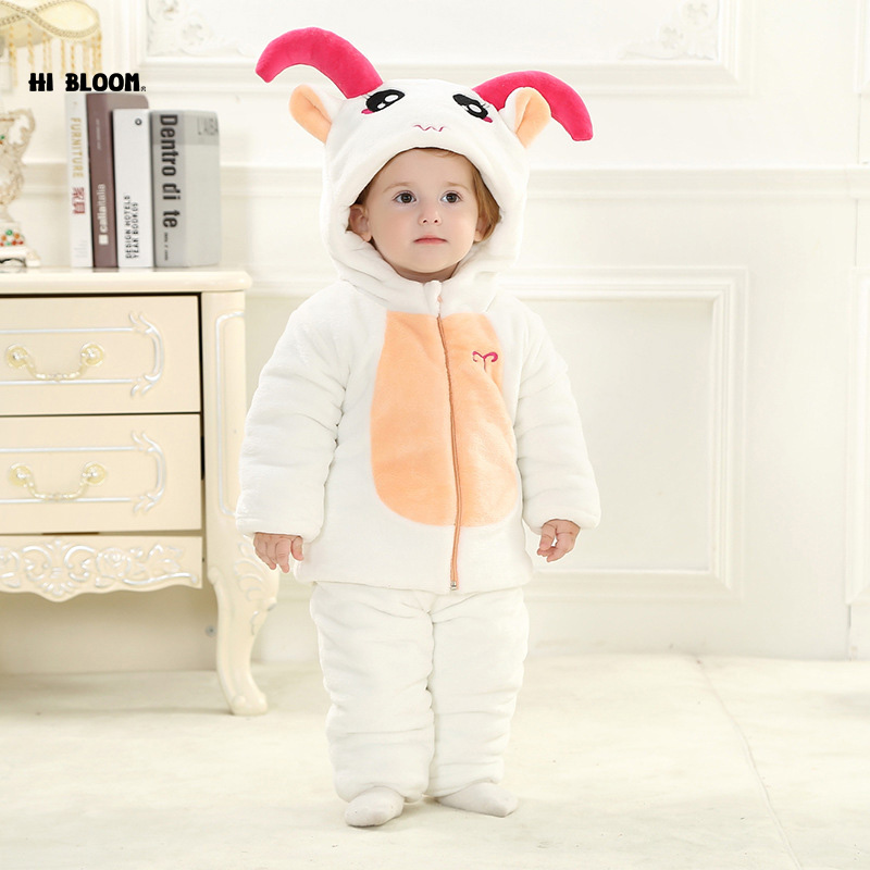 Brand Baby Clothing Winter Thicken Baby Jumpsuit Romper Long Sleeve Flannel Cartoon Animal Sheep Costume For 0-3 Newborn Infant twinsbella baby romper 2017 new fashion infant animal penguin cosplay costume child autumn winter christmas jumpsuit clothing
