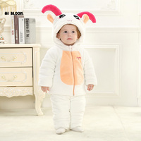 Brand Baby Clothing Winter Thicken Baby Jumpsuit Romper Long Sleeve Flannel Cartoon Animal Sheep Costume For