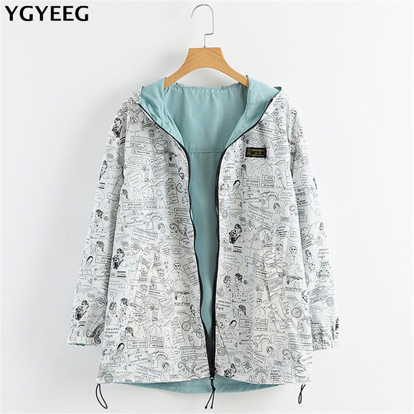 YGYEEG Spring Autumn Women   Basic     Jacket   Pocket Zipper Hooded Two Side Wear Cartoon Print Outwear Loose Coat Windbreaker Female