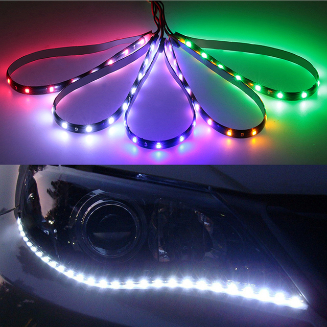 30cm Car Flexible LED Strip Light High Power 12V 11.8″ 15SMD Waterproof LED Daytime Running Light Decorative Car DRL