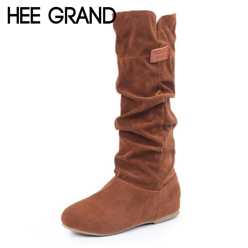 HEE GRAND Over-The-Knee Boots Faux Fur Flock Winter Women Boots Slim Flat With Fashion Warm Fur Inside Boot Shoes Woman XWX6900 woman 2016fw woman fashion patch bomber jacket with faux fur collar warm qulited lining side pockets