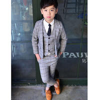 Boy Spring Summer Suit Three Piece Set Boy Plaid Suit Jacket British Vest Coat Pants Suit