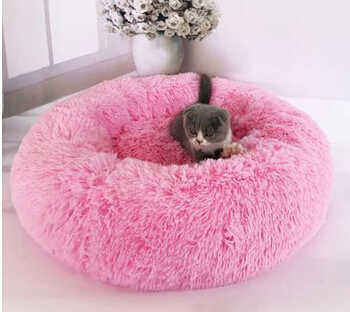 Pet Dog Cat Calming Bed Warm Soft Plush Round Cute Nest Comfortable Sleeping Plush Cat Beds Supplies Hand Wash 50 60 70 80 CM