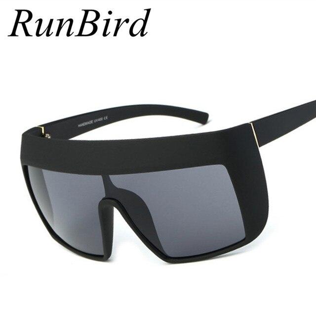 d06b482403 RunBird Shield Oversized Sunglasses Men Women Celebrity Hip Hop Big Sun  Glasses UV400 Male Female Retro