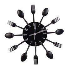 3D Wall Clock Kitchen Wall Watch Clocks Quartz For Home Office Decor  Stainless Steel Knife Fork Modern Design Large
