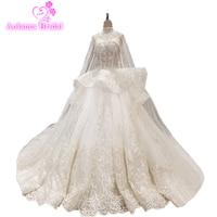 Маленький поезд с 4 м накидка высокая шея Свадебные платья кристаллы всего тела Ruffless бальное платье Свадебное платье 2018 Новое Дизайн