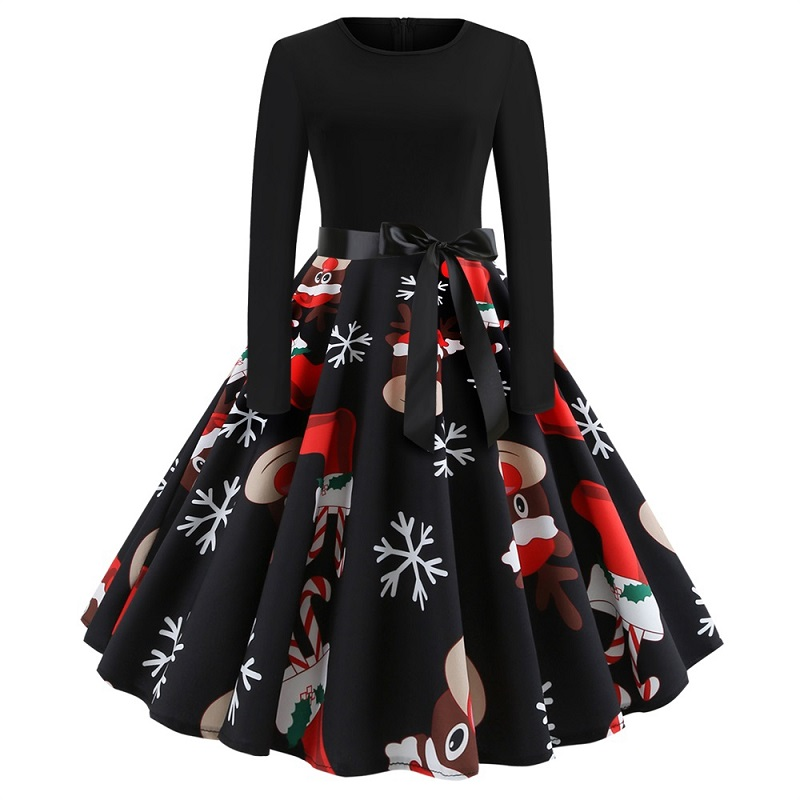 Hot Winter Christmas Dresses Women Casual Vintage Robe Swing Pinup Elegant Party Dress Long Sleeve Plus Size Print Dress Black
