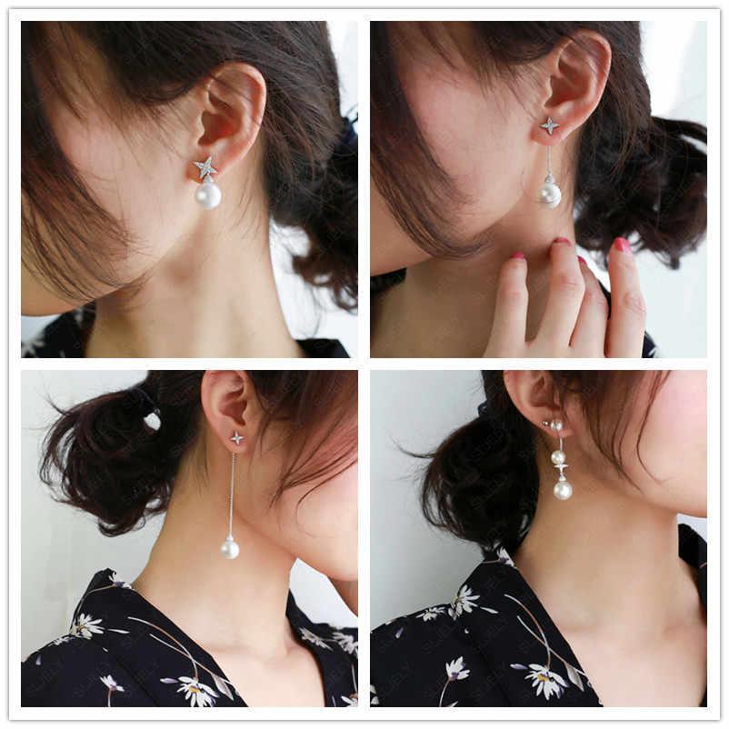 SLJELY elegante de Plata de Ley 925 Pave Zirconia cúbico estrella perlas de agua dulce, pendientes de las mujeres Mónaco FESTIVAL serie de joyas de