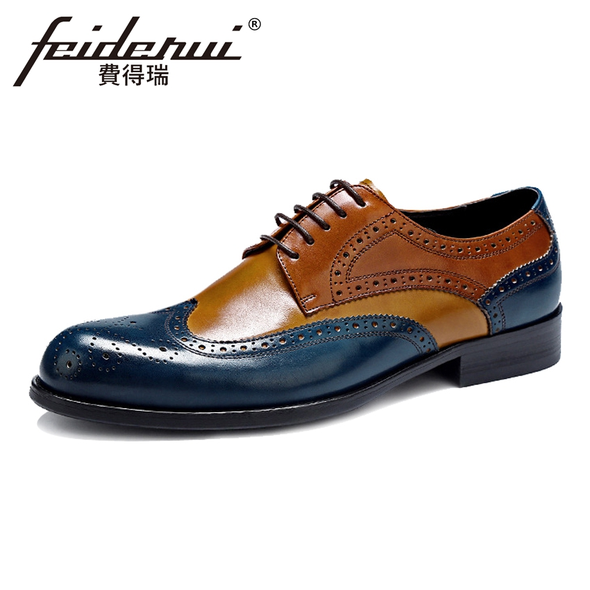Plus Size Fashion Genuine Leather Men's Oxfords Mixed Colors Round Toe Wingtip Flats Formal Dress Brogue Shoes For Man ASD22 skp151custom made goodyear 100% genuine leather handmade brogue shoes men s handcraft dress formal shoes large plus size