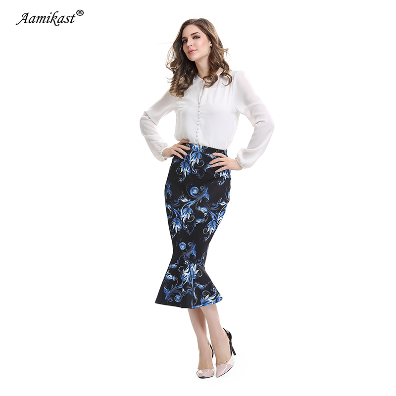 Aamikast Women Trumpet Print Skirt New Fashion 2018 Elegant Vintage Casual  Wear To Work Party Evening Sexy Buttocks Summer-in Skirts from Women s  Clothing ... 62d55abcaeaf